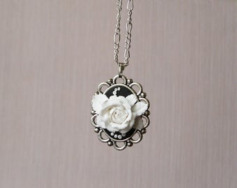Black and white necklace Cameo necklace for women birthday gift for mom cameo choker necklace Flower cameo pendant Rose cameo necklace gift