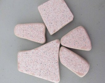 Pink Ceramic Tiles Genuine, Beach Glass Ceramic, Sea Glass, Jewelry Supply Vintage, Pottery Genuine,  Beach Find