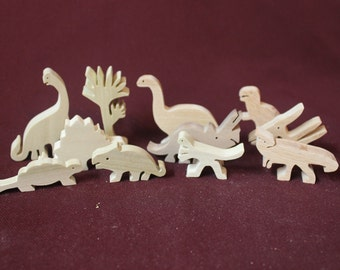 Wood dinosaur set, handcrafted from hardwoods