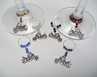 Cruiser Motorcycle Wine Charm Drink Markers Set of 6 Charms