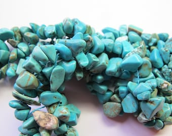 20 GENUINE TURQUOISE 3/6 MM IRREGULAR ROUND BEADS