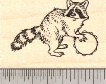 Raccoon Playing a Tamborine Rubber Stamp, Parade or Band   E21417 Wood Mounted