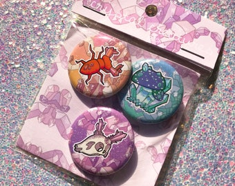 "CRYSTAL CREATURES - 1.25"" buttons"