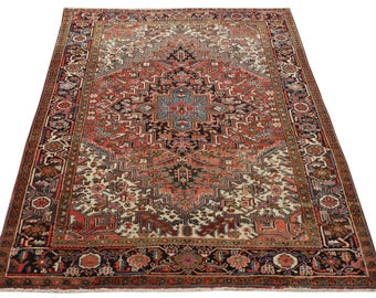 Cm 273x197 old persian rug (afghan rug) Heriz (Heris) red blue color  handmade retro style Free shipping -157-