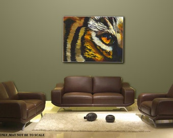 Metal, Home decor, wall art, large cat brushed aluminum painting, modern contemporary animal still life, yellow art, Title: EYE of THE TIGER