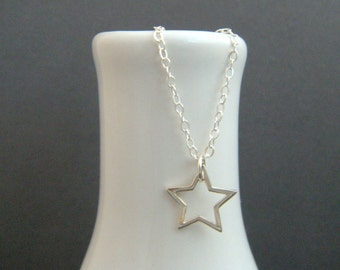 """small silver star necklace. tiny smooth lucky star. open sterling charm. simple everyday jewelry. dainty delicate pendant. gift for her 1/2"""""""