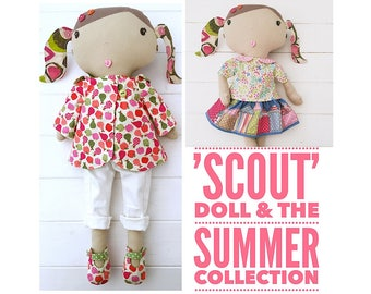 Customisable Cloth Doll 'Scout' and Complete Summer Wardrobe PDF Sewing Pattern and Tutorial