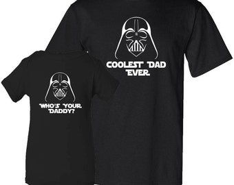 Coolest Dad Ever and Who's Your Daddy Father T-Shirt Son Bodysuit Matching Set First Father's Day Funny Baby Shower Gift Idea