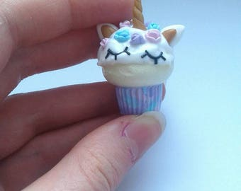 Polymer clay unicorn cupcake