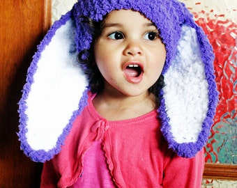 12 to 24m Purple Crochet Baby Bunny Ears Baby Hat Baby Girl Rabbit Baby Bunny Hat Baby Beanie Toddler Photo Prop, Easter Gifts