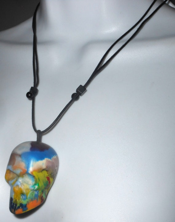 Sobral cranio skull colorful pollock large pendant necklace sobral cranio skull colorful pollock large pendant necklace brazil import aloadofball Image collections