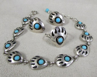 Sterling Silver and Turquoise Shadow Box Bear Paw Set