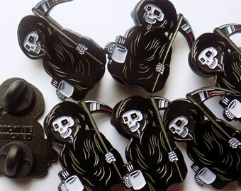 Creepy Grim Reaper, Morning Coffee, Enamel Pin 30mm