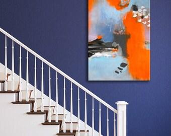Originele kunst abstract schilderij, moderne kunst, Acryl schilderij op uitgerekt doek, neon oranje grijs licht blauw schilderij, doek schilderen