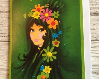Vintage Mother's Day Card, Flower Power, Groovy Girl, Green, 1970's, Unused