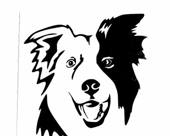 DIY Border Collie #2 Vinyl Decal, Man's Best Friend, Laptop Decal, Tablet Decal, Car Window, Cell phone Decal, Frame it, Glassware