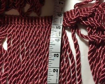 "curain or drapery trim,  fringe, window treatment trim, roman binds trim  maroon bty new 5 3/4"""