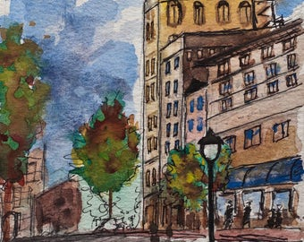 ASHEVILLE ORIGINAL CITYSCAPE Painting * North Carolina City Art * Modern Asheville Watercolor Painting* Architectural Line Drawing