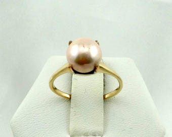 Simple Vintage 10K Gold 8 mm Cream Pearl Ring FREE SHIPPING!  #CRM8-SR