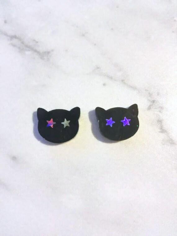 Cat earrings Black cat earring studs Cute girly gifts Kawaii earrings Holographic kitten earrings Witch studs resin earrings gift for girls