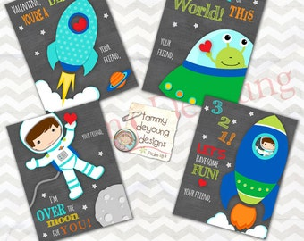 Astronaut Valentine Cards for Kids, Outer Space Rocket Valentines for boys,  DIY Printable Valentines Day cards, Alien and space ship