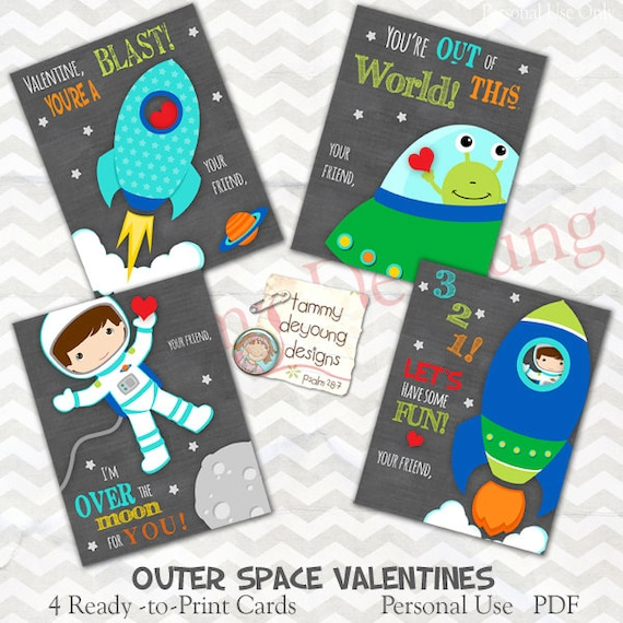 Astronaut Valentine Cards For Kids Outer Space Rocket