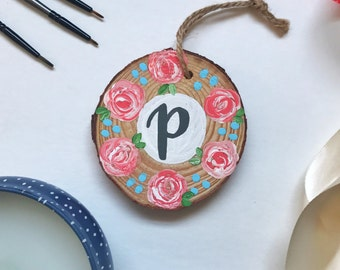 Personalized Floral Wood Slice Ornament