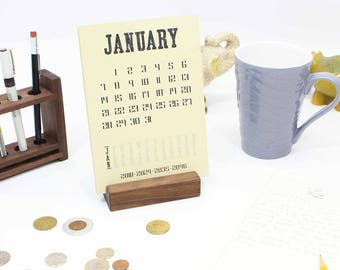 2018 Desk Calendar With Wood Stand, Monthly Desk Calendar, Desk Calendar  Stand