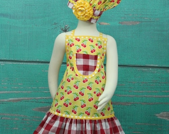 Girls Apron, Kids Apron, Little Girls Apron, Child's Apron, Toddler Apron, Girls Chef Set, Childrens Aprons, Cherry Apron