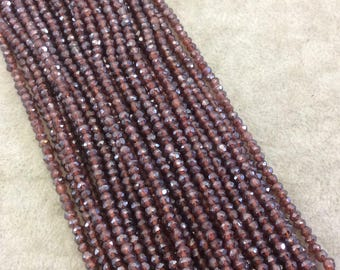 """Holiday Special! 2-3mm x 2-3mm Faceted Mystic Coated Natural Red Garnet Rondelle Beads - 13"""" Strand (~ 134 Beads)"""