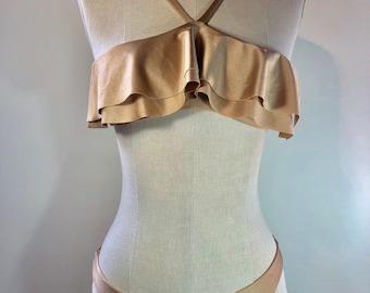 Bandeau Top with Ruffles | Women's Swimwear | Hand Made | Seamless | Made in U.S.A.