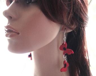 Cute Little Dangling Black and Red Poke A Dot Felt Fabric Butterfly Earrings, Ladies Earrings, Women Earrings, Fashion Earrings