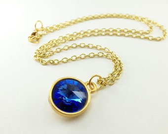 Gold Necklace Sapphire Birthstone Necklace Sapphire Blue September Birthstone Necklace Gold Jewelry