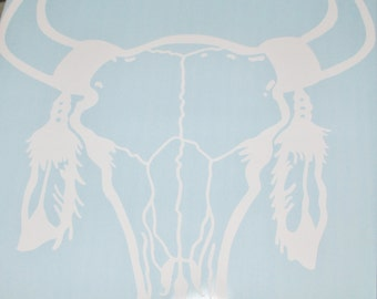 """Bull Skull with Feathers Vinyl Decal, 8"""" wide x 8"""" Tall Wall Decal / Laptop Decal / Car Decal"""