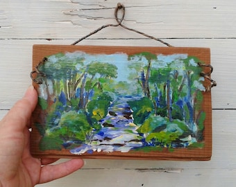 Mountain stream painting on rustic board, mountain forest painting, art for cabin, mountain art, Applachian Trail scene, Chester Creek