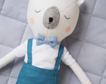 Bear doll - Teal overalls & bowtie - fabric doll - Mr Sleepy Bear doll - handmade doll - boy doll