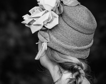 Portrait Photography - Girl in a Hat Fine Art Photograph - Black and White Print - Vintage Farewell Print