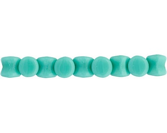 44 Pieces Czech Glass Pellet Beads - Opaque Turquoise Alabaster 4x6mm (PG96415)