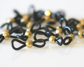 Distinctive Beaded Eyeglass Loops with Faceted Gold Beads. Lots of 10 or 25