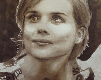 Portrait Isabelle Carré, original watercolor painting, sepia, French theater actress