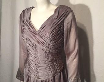 Vintage S Small 6 Silk Lavender Purple Iridescent Chiffon Rhinestones Long Sleeve Ruched Front V Neck Formal Gown Liancarlo Gazebo 90s Dress