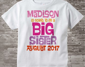 Big Sister Shirt | Girl's Personalized Pink and Purple Big Sister Shirt or Onesie | Infant, Toddler or Youth Due Date and Name 02062014g