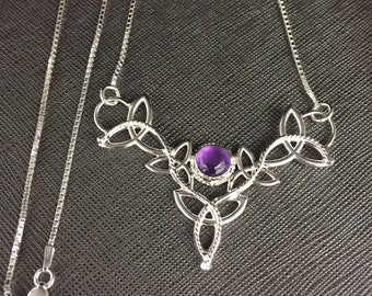 Celtic Irish Statement Necklace with 16 Inch Box Chain Sterling Silver, Celtic Irish Necklace with Natural Amethyst Cabochon, Handmade OOAK