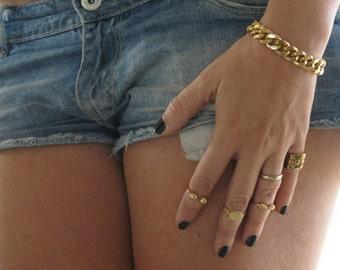 Chunky Curb Chain, Womens Gold Chain Bracelet, Rock Style Chain, Curb Chain Bracelet, Gold Chain Bracelet, Gold Link Bracelet