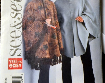 Sewing Pattern Butterick  4266  Misses Poncho Bust 38-44 inches  Uncut complete See & Sew