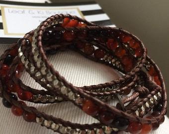 wrap bracelet popular,trendy, VeganLeather Beaded Wrap Bracelet, Red Earth Agate Stone Bracelet, Handmade Womens Jewelry,