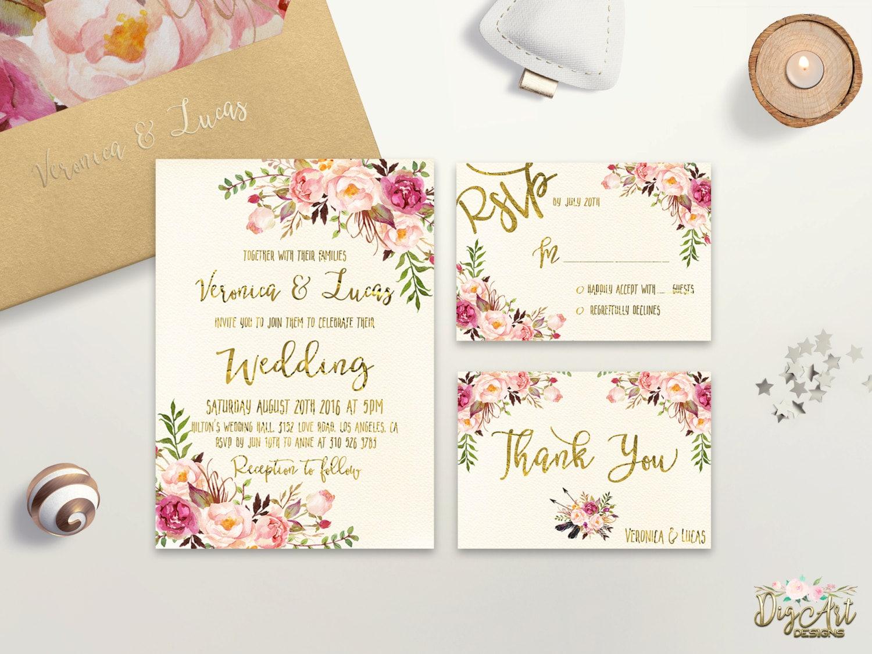 Floral Wedding Invitation Printable Wedding Invitation Suite