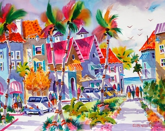 Venice Beach Florida, Tropical Watercolor Print, 5 x 7, 8 x 10, 11 x 14, Negley, Beach Art, Beach Painting, Tropical Watercolor Painting