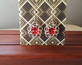 Chain maille earrings - wrapped RED Swarovski crystal dangles