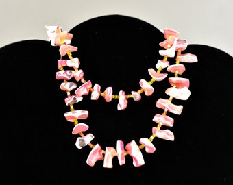 Vintage,Beautiful,Handmade,White and Pink, Marbled,Chip,Stone,Necklace,24 inches